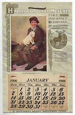 Antique 1906 Hartford Mutual Fire Insurance Boy w/ Dog Advertising Calendar