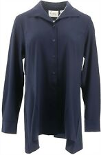 Linea Louis Dell'Olio Wing Collar Blouse Swing Hem Navy XL NEW A294605
