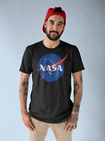 NASA Logo T Shirt Mens Space Astronaut Vintage Style Retro Classic Tee New Black