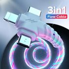 3 in1 Flow Luminous Lighting USB cable Micro USB Type C 8Pin charger Wire.