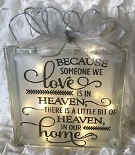 LED Glass Light Block Lamp Because Someone We Love Is In Heaven Memorial Xmas