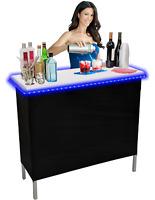 Portable Folding Party Bar w/ Black & Hawaiian Bar Skirts & LED Lights