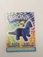 TY Beanie Babies Glow in the Dark Sticker Coloring Card BRONTY