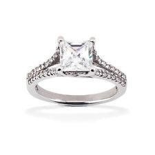 Princesa Diamante Anillos Brillantes 14 K Oro Blanco Wesselton Joya De