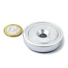 Super Magnete al Neodimio CSN-48 POTENZA 87 Kg FORO SVASATO + BASE IN ACCIAIO