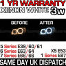 BMW XENON WHITE ANGEL EYE 7000K 3W LED MARKER BULBS 1 5 6 7 X5 Series 1YR WARNTY