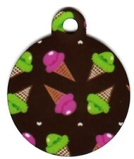 Engraved Pet ID Tag Round Pink And Green Ice Cream Tag!
