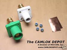 Camlok #2- 4/0 MALE & FEMALE WHITE Panel Mount Pair Kit