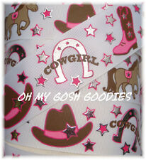 1.5 BOOTS & BLING COWGIRL THING HORSESHOE PONY HORSE STAR GROSGRAIN RIBBON 4 BOW