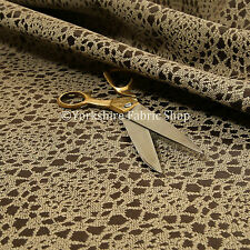 Geometric Medallion Pattern Brown Textured Chenille Jacquard Upholstery Fabric