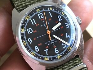 1977 Vintage Timex Viscount Military Style Auto Mechanic Men's Watch Serviced