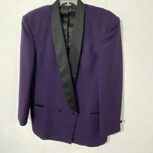 Men's PURPLE Double Breasted 42L Tuxedo Jacket with Black Satin Lapels 42 Long