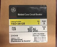 BRAND NEW GE TED136125 TED136125WL  TED - 3Pole 125Amp 480/600Volt Bolt-On