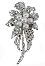 Scarf Pin / Brooch Flower Shape Crystal And Pearl