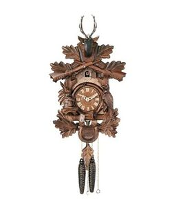 """River City 1 Day Hunter's Hand-Carved Leaves Animals Rifles 16"""" Cuckoo Clock"""