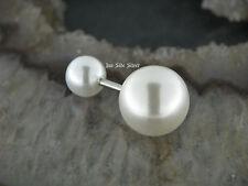 Paar Doppelperlen Ohrstecker Weiße Perlen  2 Perlen Ohrstecker 1,6MM Ohrpiercing