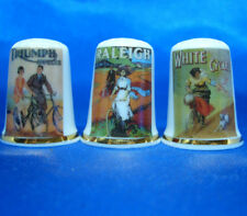 Birchcroft China Thimbles -- Set of Three -- Cycling Posters