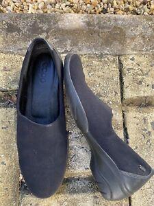 Ecco Black Leather/Textile Shoes sz 39 8/8.5