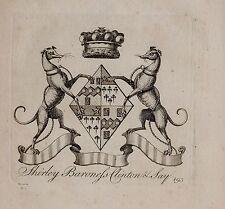 1779 antica stampa ~ Shirley ~ Stemma di Famiglia Stemma Baronessa Clinton & dire