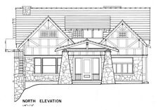 Bungalow Home Plans, a fine Craftsman Style House in wood and stone, blueprints