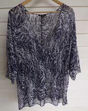 BeMe Women's Sheer Blue & White Top - Size 16