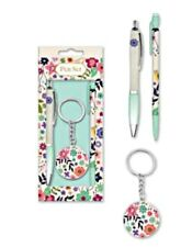KEYRING GIFT SET box  Pen Pencil STATIONARY FLOWERS FOR HER girls ladies