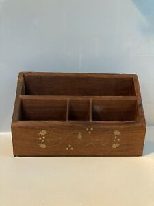 Antique Vintage Wooden Letter Rack/Holder With Brass Inlay. Lovely Desk Tidy.