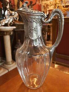 Amazing Antique Gustave Keller Paris French Silver and glass Pitcher ewer jar