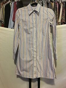 Women's Brooks Brothers Fitted Striped Multicolor Button Up Dress Shirt Size 4