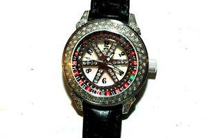 New Ladies Aqua Ice Diamond Roulette Wheel Watch Retail $2750