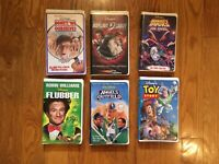 Lot Of 6 Disney VHS Tapes. Mighty Ducks. Flubber. Toy Story. Clamshell Case. 90s