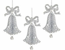 3 x Silver 3D Bell Christmas Tree Hanging Decorations Wedding Hanger Decorations
