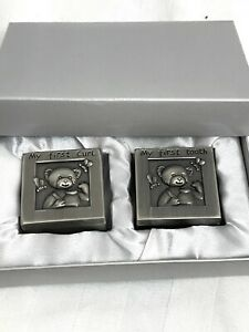 New Set of 2 Pewter Boxes My First Tooth & My First Curl - Baby Gift Baby Shower