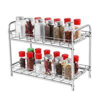 BESTONZON 2-Tier Storage Organizer Spice Jars Bottle Shelf Holder Rack Kitchen