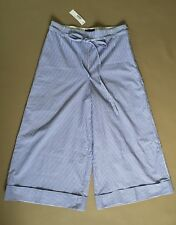 $98 J. CREW 8 CUFFED CROPPED PANTS BLUE WHITE SHIRTING STRIPE Sold Out! G3174