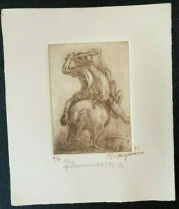 1981 RAUL ANGUIANO VALADEZ MEXICAN ORIG ETCHING ARTIST PROOF SIGNED