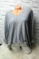 Italy Pulli Pullover Gr. 36 38 40 42 Vintage grau Oversized Shirt weich