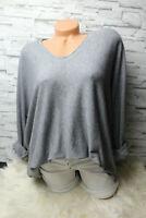 Italy Pulli Pullover Gr. 36 38 40 42 Vintage grau Oversized Shirt weich