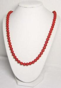 """14K Yellow Gold Over Red Coral Round Beaded 20"""" Necklace For Women's Jewelry"""
