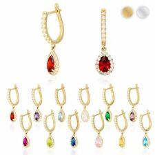 "14k Yellow White Gold Birthstone Teardrop Diamond Halo Dangle Earrings 1"""