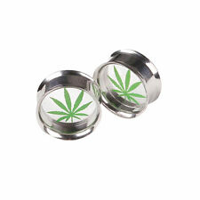 1 Pair Mariguana Hemp Leaf Screw Ear Plug Flesh Tunnel Gauges Stretcher Expander