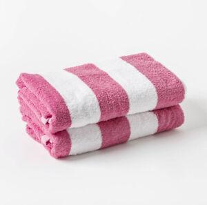 Pink & White Stripe Luxury 100% Egyptian Cotton Chlorine Resistant Pool Towel