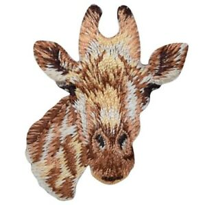"Giraffe Applique Patch - Giraffe Head, Animal Badge 1-3/4"" (Iron on)"