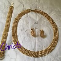 Parure Collier / Bracelet / Boucles D'oreilles Plaqué Or Maille Américaine  N12