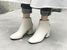 Chic Women Square Toe Zip Mid Chunky Heel Ankle Boot Shoe Fashion Party Block
