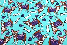 PRETTY CHIHUAHUA DOG & BONES FLANNEL FABRIC 100% COTTON SEWING QUILTING SOLD BTY