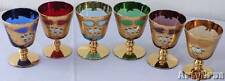"Vtg Bohemian Czech Wine Glasses 24k Gold Hand Painted Enamel 4"" Tall 8 oz Set 6"