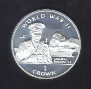 1994 GIBRALTAR ONE CROWN WW II Admiral SOMERVILLE  SILVER COIN KM# 261a PROOF