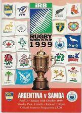 ARGENTINA v SAMOA 1999 RUGBY WORLD CUP PROG