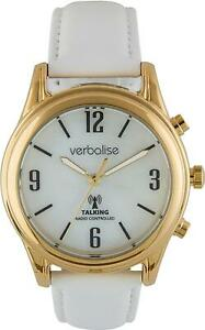 Verbalise Ladies Gold Plated Talking Watch with White Leather Strap VLRC-208LW